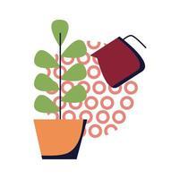 planta dentro de maceta y agua puede diseño de vector de icono de estilo plano