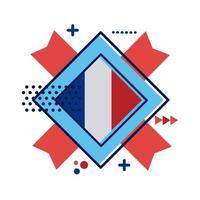 icono de estilo plano de sello de bandera de Francia