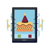 Cake and party hat inside smartphone flat style icon vector design