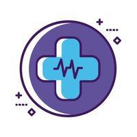 símbolo de cruz médica con línea de pulso cardio y estilo de relleno