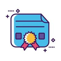 graduation certificate line and fill style vector