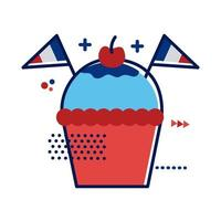 cupcake with France flags flat style vector illustration design