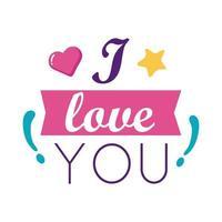 Te amo texto con diseño de vector de icono de estilo plano de corazón y cinta