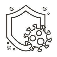 partícula de virus covid19 en estilo de línea de escudo