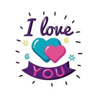 Te amo texto con corazones y diseño de vector de icono de estilo plano de cinta