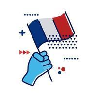 Mano con la bandera de Francia, diseño de ilustraciones vectoriales de estilo plano