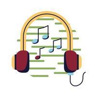 Auriculares con diseño de vector de icono de estilo plano de notas musicales