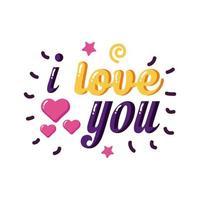 Te amo texto con corazones diseño de vector de icono de estilo plano