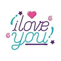 Te amo texto con diseño de vector de icono de estilo plano de corazón
