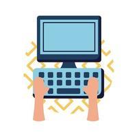 manos en el diseño de vector de icono de estilo plano de computadora
