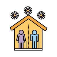 pareja de ancianos con distancia social en la línea de la casa y el icono de estilo de relleno