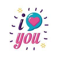 Te amo texto con diseño de vector de icono de estilo plano de burbuja de corazón