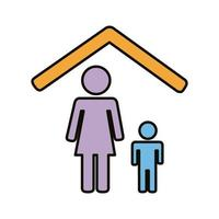 mother and son stay at home line and fill style icon vector