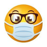 emoji with eyeglasses wearing medical mask gradient style vector