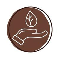 hand with leaf plant organic block style icon vector