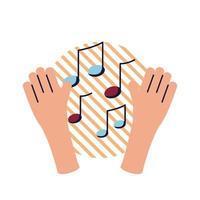 manos con notas musicales, estilo plano, icono, vector, diseño