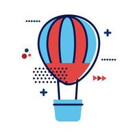 hot air balloon travel flat style icon vector
