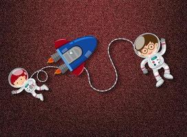 Cute astronauts and rocket space theme vector