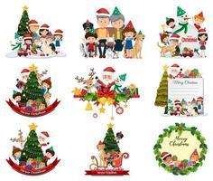 Set of blank Christmas scenes vector
