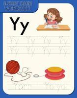 hoja de trabajo de rastreo alfabético con las letras yey vector