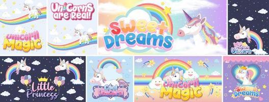 lindas pancartas de unicornio en color de fondo pastel vector