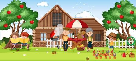 familia en unas vacaciones relajantes vector