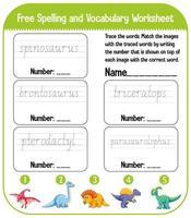 conjunto de palabras de ortografía hoja de trabajo de práctica de escritura de dinosaurio