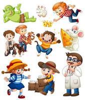 conjunto de personaje de dibujos animados de fantasía aislado sobre fondo blanco vector