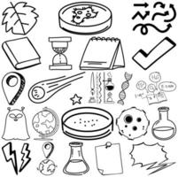 Set of nature and science items and symbols hand drawn doodle vector