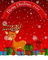Merry Christmas 2020 font with reindeer cartoon character