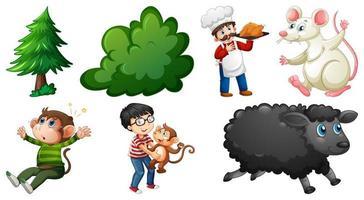Conjunto de diferentes personajes de rimas infantiles aislado sobre fondo blanco. vector