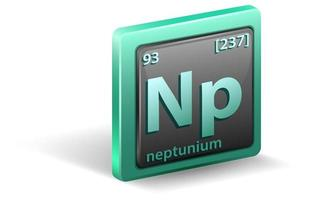 Neptunium chemical element. Chemical symbol with atomic number and atomic mass. vector