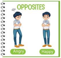 palabras opuestas con enojado y feliz vector