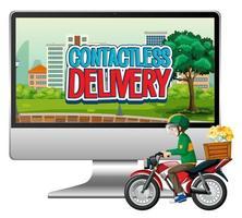 computadora con ciclista o mensajero y texto de entrega sin contacto vector