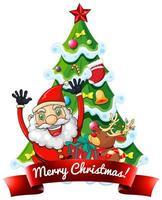 banner de fuente de feliz navidad con santa claus y renos sobre fondo blanco
