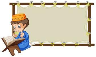 Marco de madera en blanco con niño musulmán rezando personaje de dibujos animados vector