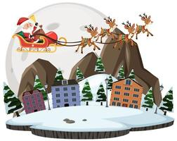 Santa claus with raindeer flying across the city and the moon background vector