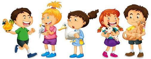 Grupo de personajes de dibujos animados de niños pequeños sobre fondo blanco. vector