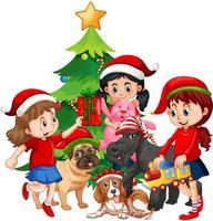 Grupo de niños con su perro con elemento navideño sobre fondo blanco. vector
