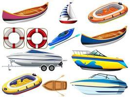 Conjunto de diferentes tipos de barcos y barcos aislado sobre fondo blanco. vector