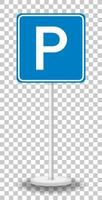 Parking sign with stand vector