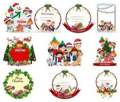 Set of blank Christmas emblems and scenes vector