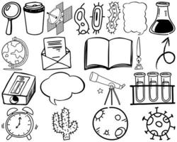 Set of science and nature items and symbols hand drawn doodle vector