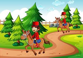 Soldiers riding horse in the park scene vector