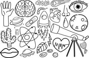 Diferentes trazos de doodle sobre equipo científico aislado sobre fondo blanco. vector