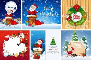 Conjunto de diferentes postales o carteles navideños.