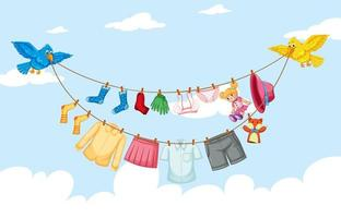 Clothes hanging on line with sky background vector