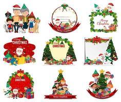Conjunto de emblemas y escenas navideñas en blanco