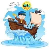 Capitán de pie en el barco sobre fondo blanco. vector
