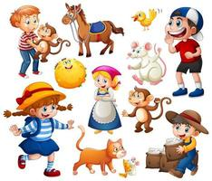 Set of fantasy cartoon character and animal isolated on white background vector